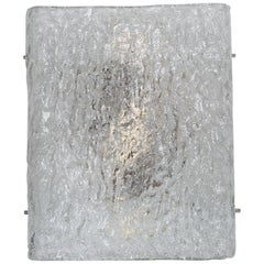 Single Large Modernist Ice Glass Sconce