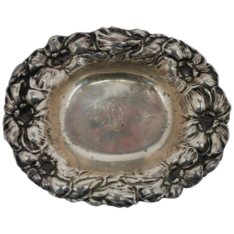 Antique Art Nouveau Sterling Silver Small Bowl or Jewelry Dish