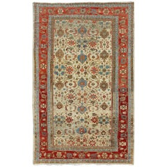 Ivory Background Antique Persian Sultanabad Ziegler Carpet with Rich Palmettes