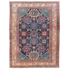 Antique Persian Malayer Carpet with Colorful, All-Over Sub-Geometric Design