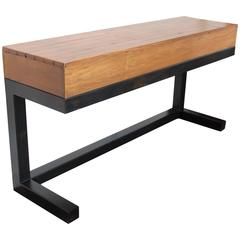 Reclaimed Wood Stand with Steel Base