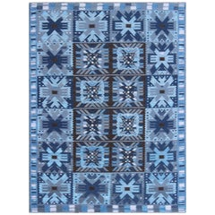 Contemporary Scandinavian Flat-Weave Swedish Design Rug in Blue & Brown Colors