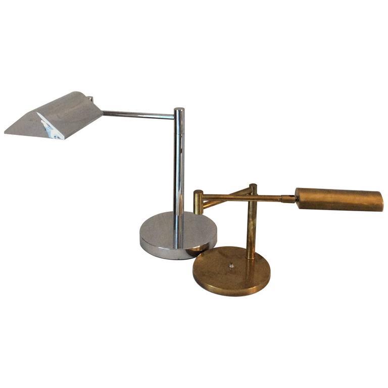 Mid-Century Modern Koch & Lowy Style Swing Arm Brass/Chrome Table, Desk Lamp 1