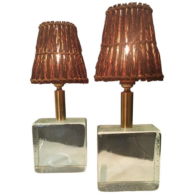 Fontana Arte Style Glass Brick Table Lamps, Pair