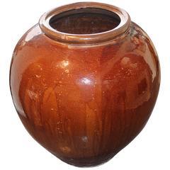Vintage Glazed Storage Jar