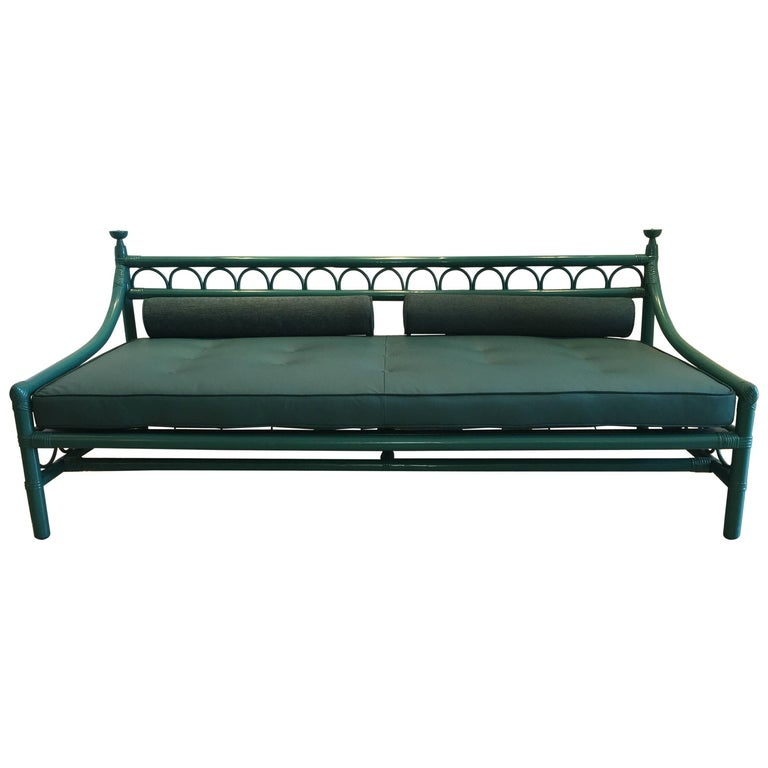 Early Henry Olko for Willow & Reed Bamboo and Leather Daybed or Sofa  For Sale