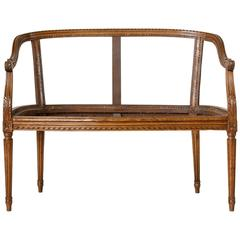 Late 19th Century French Louis XVI Style Hand-Carved Walnut Settee, Bench Frame