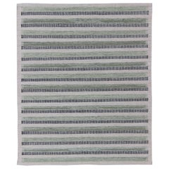 Scandinavian Design Flat-Weave Rug with Striped Design in Charcoal and Green