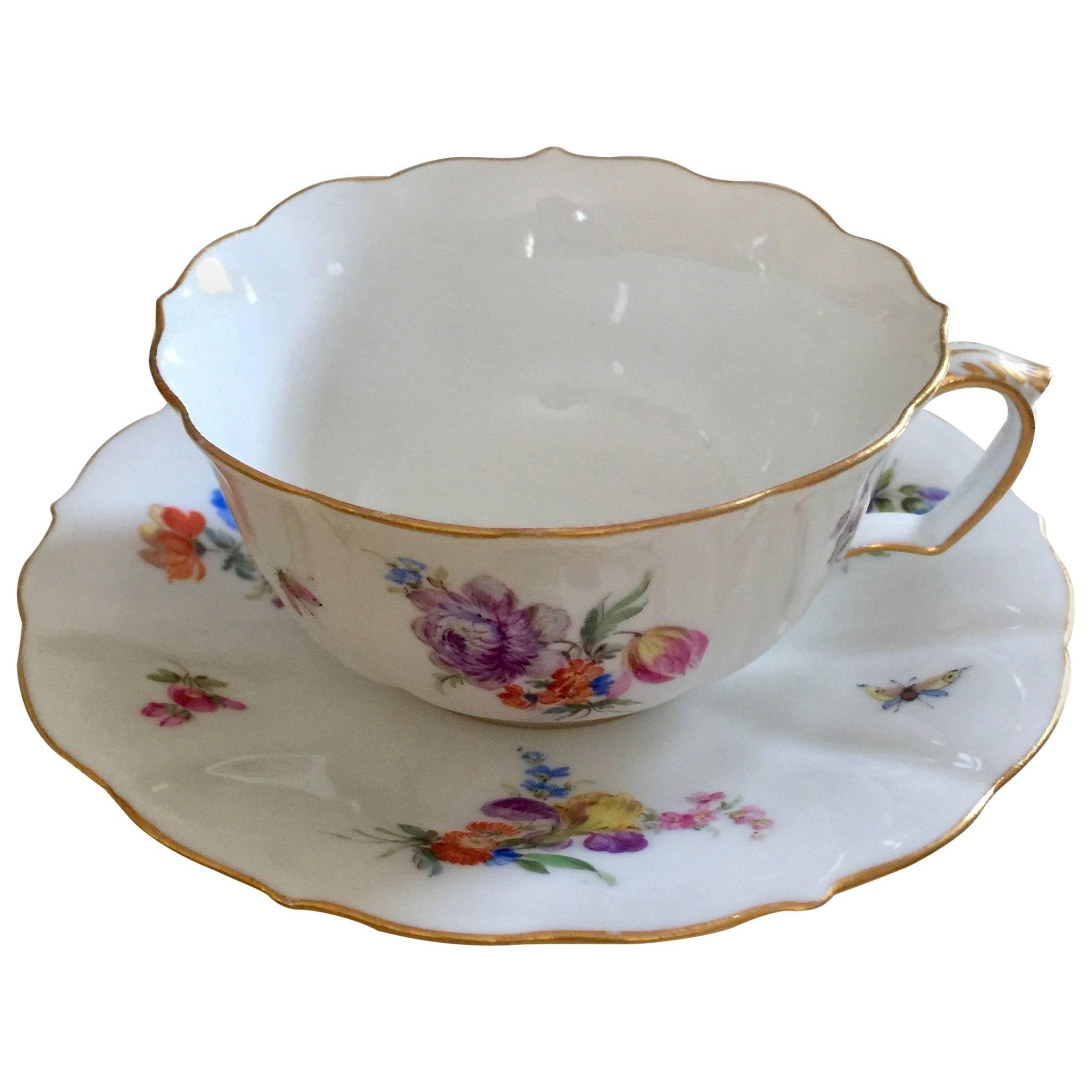19th Century Meissen  Porcelain Painted Gilt Cup & Saucer