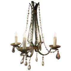 19th Century French Painted Green and Gold Iron and Crystal Chandelier