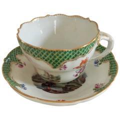 19th Century Antique Meissen Porcelain Cup and Saucer