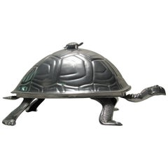 Arthur Court Cast Aluminum Turtle Meat Dome USA