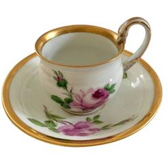 19th Century Meissen Porcelain Moss Rose Cup and Saucer