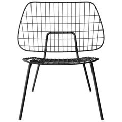 Wm String Lounge Chair by Studio WM, in Two-Pack, Black Steel Frame