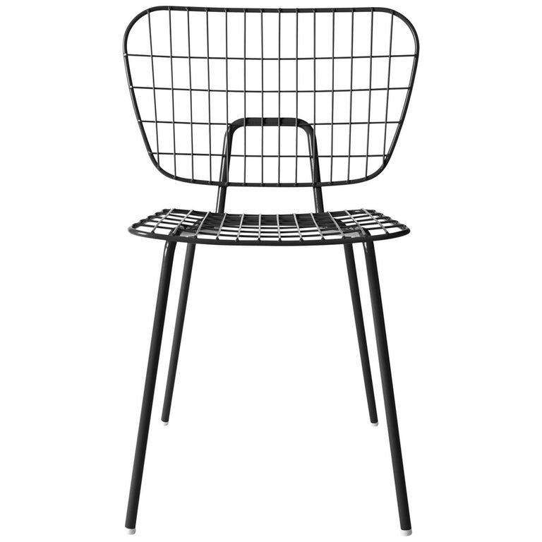 Wm String Dining Chair by Studio Wm, in Two-Pack, Black Steel Frame