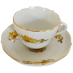 19th Century Meissen Porcelain Scalloped Yellow Dragon Demitasse Cup and Saucer