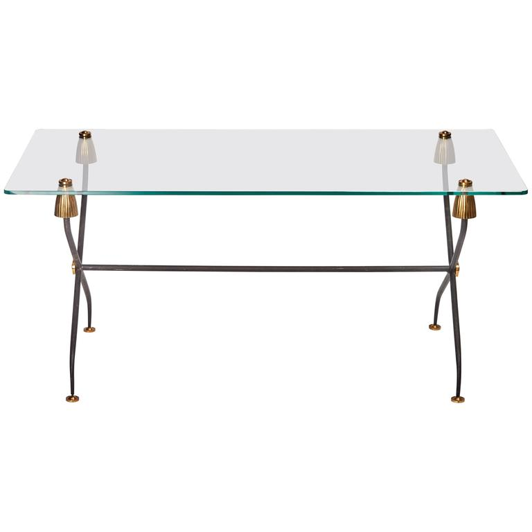 French Regency Brass, Iron, Glass Top Coffee or Cocktail Table