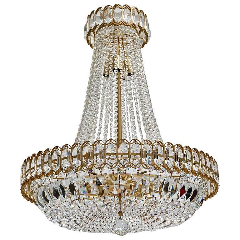 Crystal and Brass Chandelier 1
