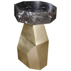 Brass Facet Table with Octagon Smoke Crystal Tabletop by Robert Kuo