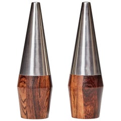 Danish Rosewood and Stainless Steel Salt and Pepper Shaker Set