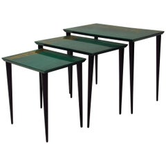 Aldo Tura Nesting Tables in Emerald Green Goatskin, Italy,  1950s
