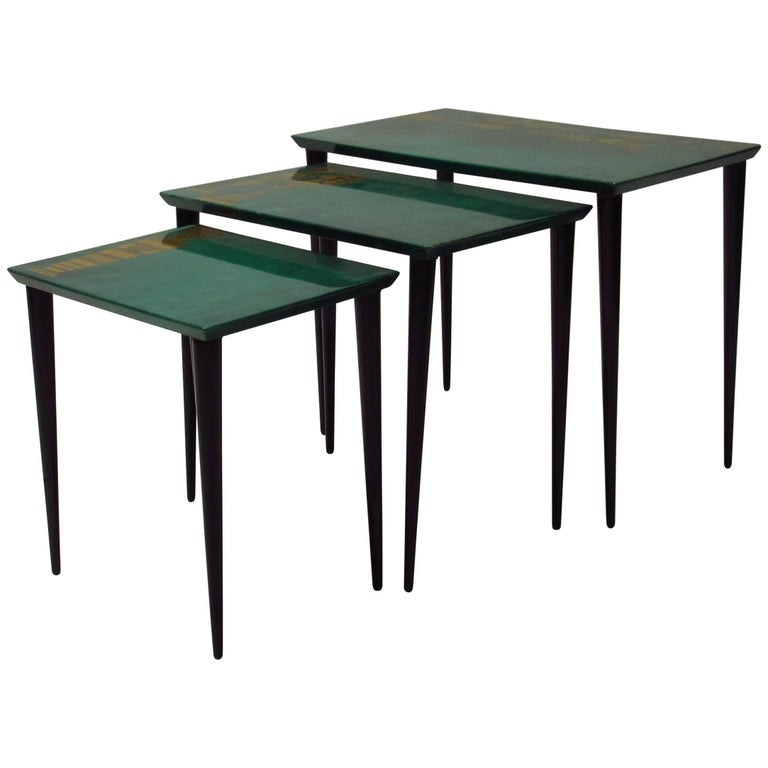 Aldo Tura Nesting Tables with Fornasetti Appliques, Italy,  1950s