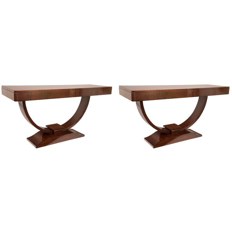 Pair of Large French Art Deco Console Tables