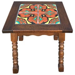 Taylor Tilery Spanish Tile Mahogany Side Table