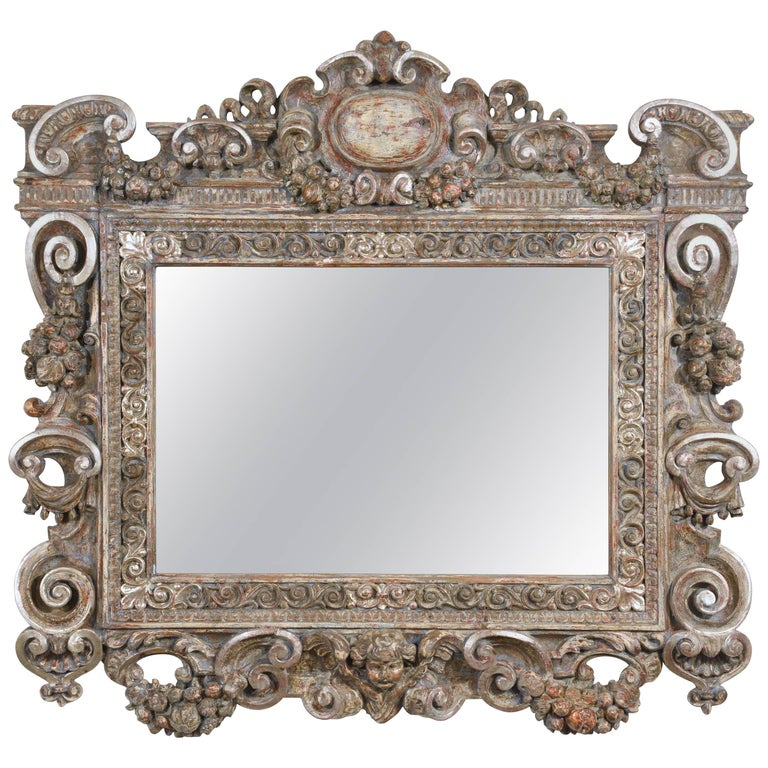 19th century grand baroque style carved frame wall mirror