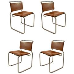 Four Chairs in Leather by Nicos Zographos Designed in 1966, USA