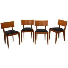 Four Fruitwood Dining Chairs, France Circa 1950
