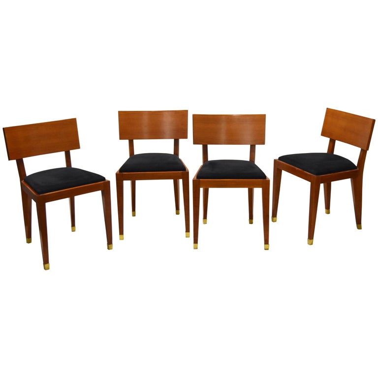 Four Fruitwood Dining Chairs, France Circa 1950 For Sale