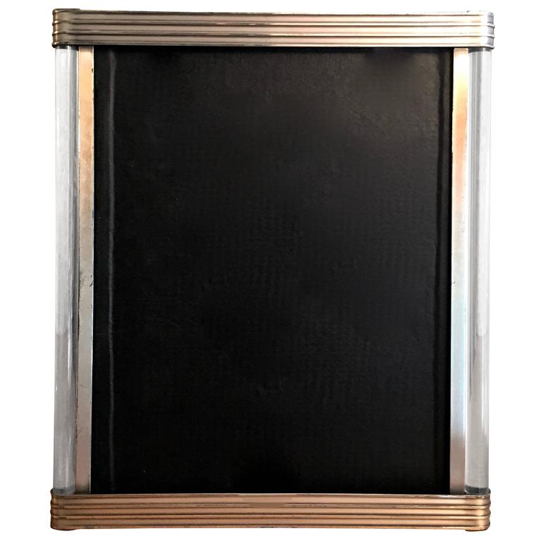 Art Deco Picture Frame With Ribbed Metal And Glass Rod