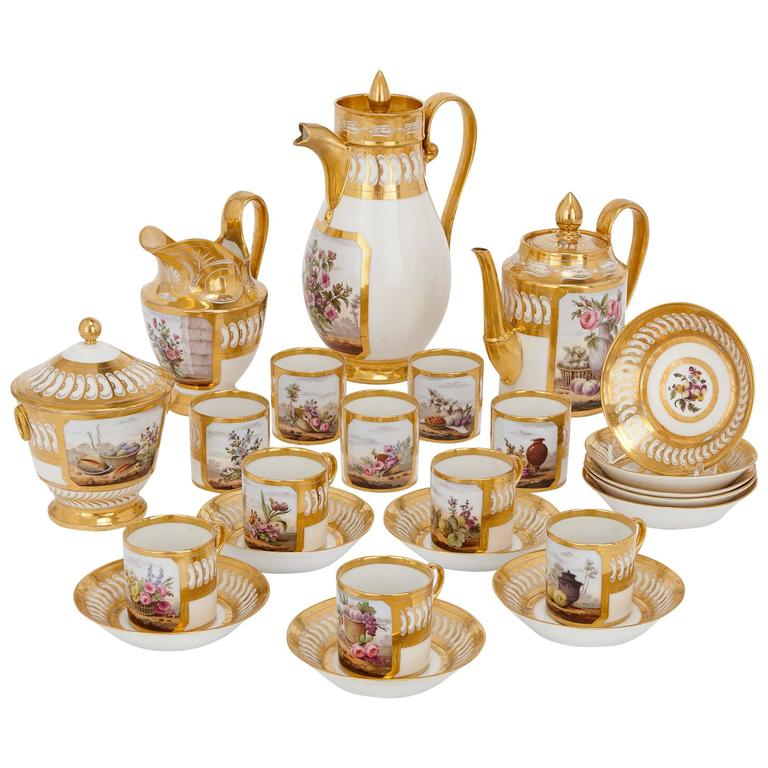 Fine French Antique Paris Porcelain Tea and Coffee Set from the Empire Period