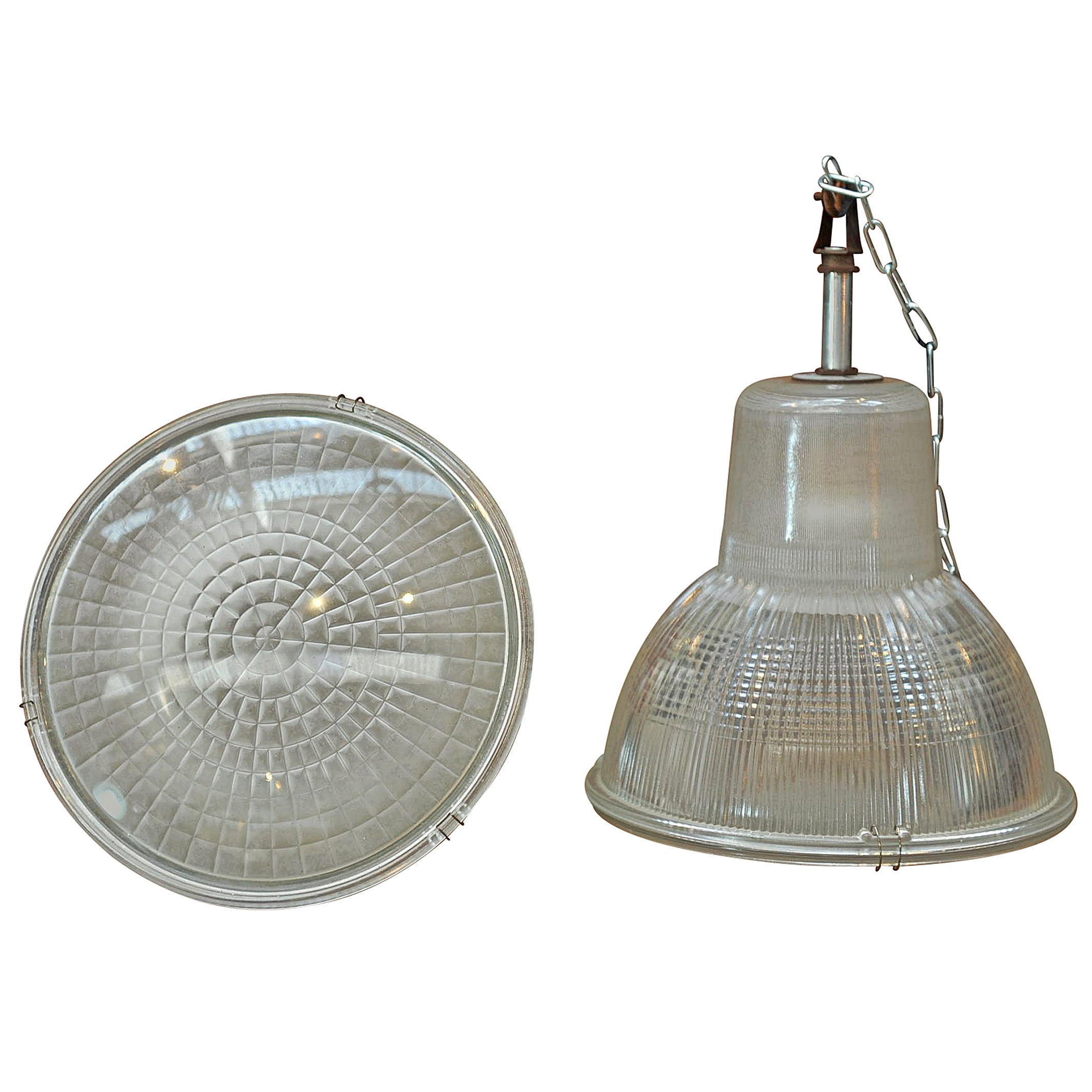 Holophane Paris France Glass Factory Pendant Lights, 1960s