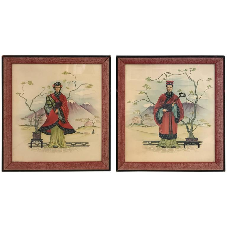 1960s Asian Emperor and Empress Prints with Red Frame, Pair