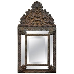 19th Century Repoussé Brass Napoleon III Beveled Mirror, 1850s