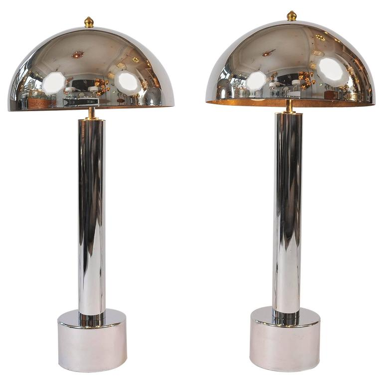 American 1960s Chrome Mushroom Lamps