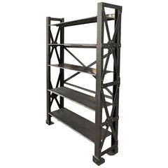 Riveted Iron Adjustable Industrial Shelf, circa 1900