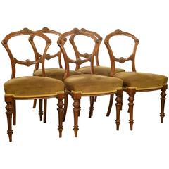 Set of Five Late Victorian Walnut Dining Chairs