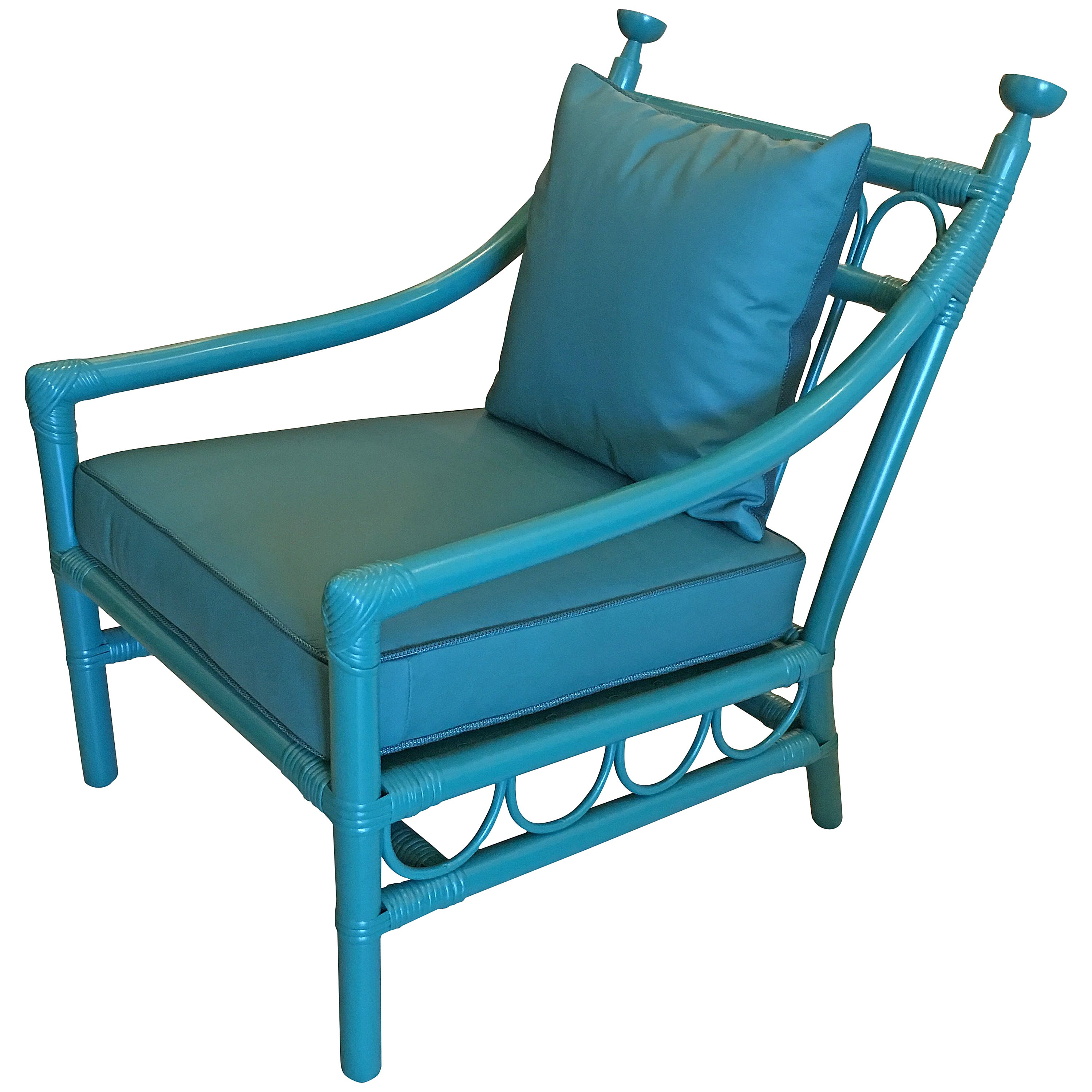 Early Henry Olko for Willow & Reed Bamboo and Leather Armchair