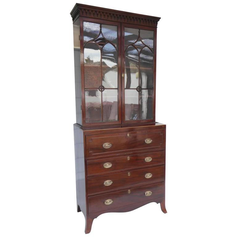 19th Century Regency Mahogany Secretaire Bookcase Of Small