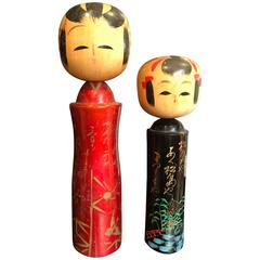 Japanese Pair of Unusual Artisan Signed Dolls, Rare Red and Black Lacquer