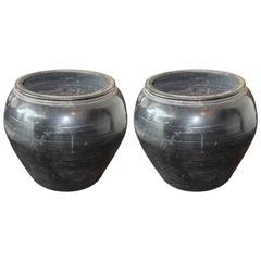 Vintage Black Clay Pots