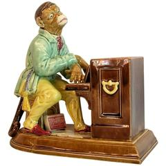 Sarreguemines Majolica Figure of a Monkey Playing the Piano, circa 1880