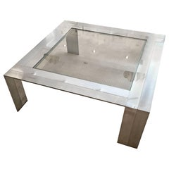 Brushed Steel and Nickel Coffee Table by Elaine Cohen for DIA