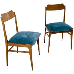 Pair of Teak and Vintage Velvet Chairs, Italy, 1950s
