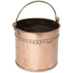English Riveted Copper Bucket