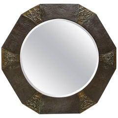 English Arts & Crafts Octagonal Mixed Metal Mirror