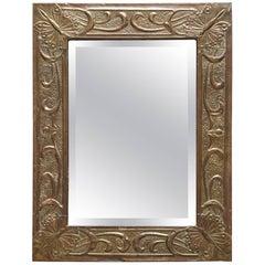 Arts and Crafts Hammered Brass Mirror